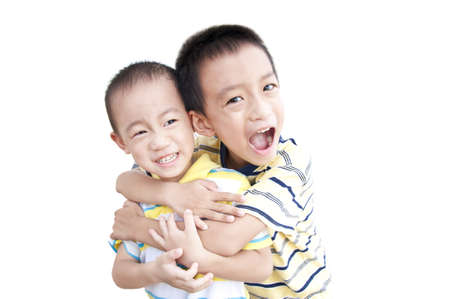 Happy brothers hold together photo