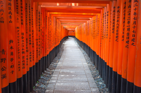 thousands: Thousands of vermilion torii gates at Kyoto Fushimi Inari Shrine,Red Tori Gate at Fushimi Inari Shrine in Kyoto, Japan, selective focus, soft focus and blur image