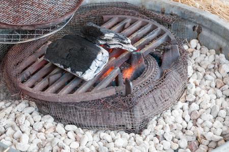 stove: Old Japanese stove, charcoal stove Stock Photo