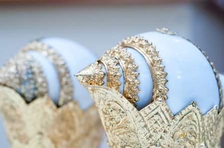 anointed: Thai wedding ceremony ,groom and bride ceremony ,wedding shell Stock Photo