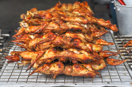 Thai grilled chickens, the street food style, They have a pleasant fragrance and very delicious.