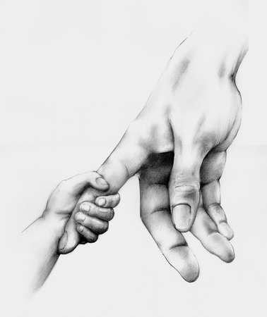 mum and child: Adult hand child hand