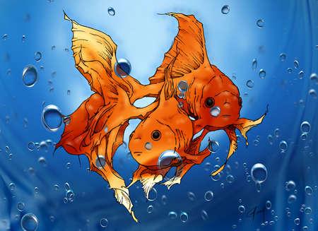 koi: Mixed media two goldfish