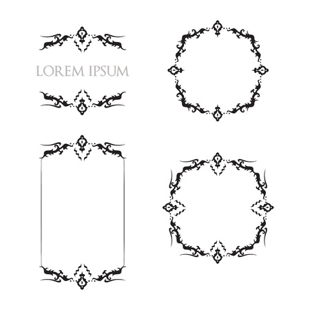 Vintage Floral Frames Borders Ornament Decorative Elements
