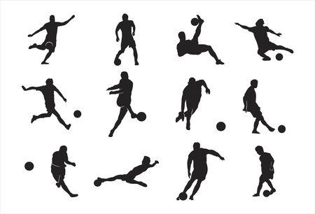 Uomo Che Gioca Calcio Calcio Sagoma Elemento Disegno Calcio Dribbling Posa