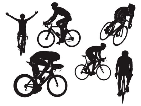 Biker Cycling Ride Road Bike Celebration Black Silhouette