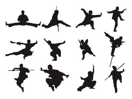 Kungfu Guerrero Espada Estilo Palo Silueta Arte Marcial Asiático