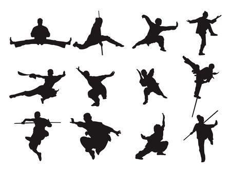 Kungfu Guerrier Épée Style Bâton Silhouette Art Martial Asiatique