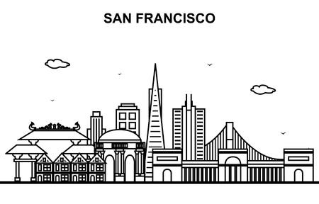 San Francisco City Tour Cityscape Skyline Line Outline Illustration Ilustrace