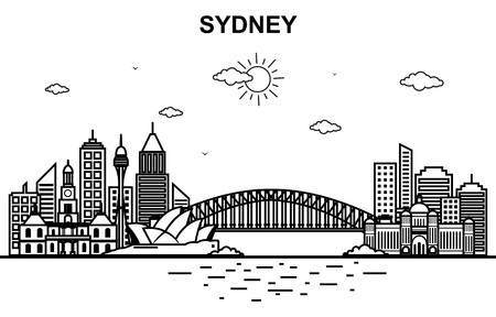 Sydney City Australia Cityscape Skyline Line Outline Illustration