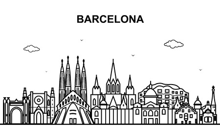 Barcelona City Tour Cityscape Skyline Line Outline Illustration