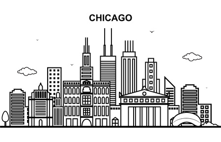 Chicago City Tour Cityscape Skyline Line Outline Illustration