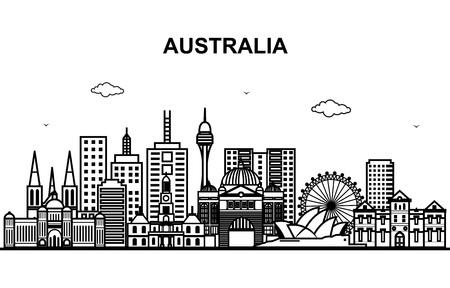 City in Australia Cityscape Skyline Line Outline Illustration