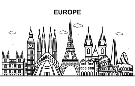 City in Europe Tour Cityscape Skyline Line Outline Illustration