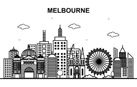Illustrazione del profilo della linea dell'orizzonte di paesaggio urbano della città di Melbourne Australia