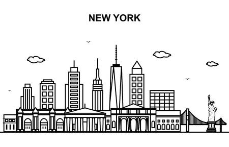 Illustrazione del profilo della linea dell'orizzonte del paesaggio urbano del tour di New York City