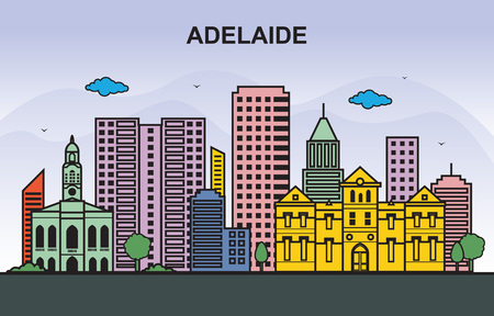 Adelaide City Tour Cityscape Skyline Colorful Illustration Ilustracja