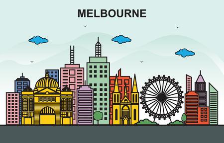 Melbourne City Tour Cityscape Skyline Colorful Illustration Illustration