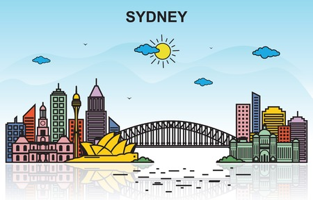 Sydney City Tour Cityscape Skyline Colorful Illustration  イラスト・ベクター素材