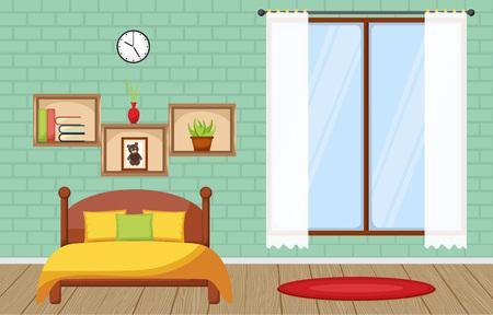 Bedroom Interior Sleeping Room Flat Design Illustration Illustration