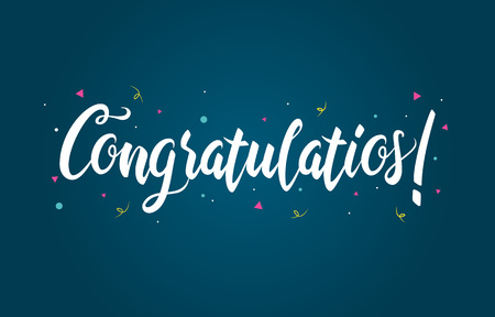 Congratulations Typography Handwritten Lettering Greeting Card Banner 向量圖像