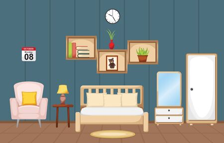 Bedroom Interior Sleeping Room Flat Design Illustration 向量圖像