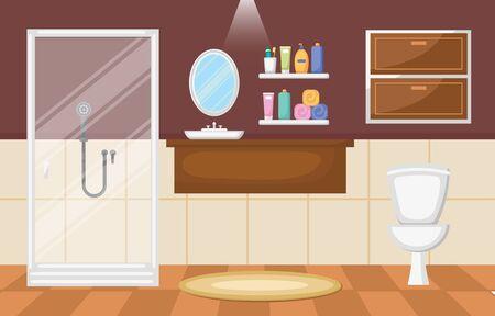 Bathroom Interior Clean Modern Room Furniture Flat Design Vecteurs