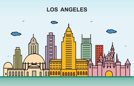 Los Angeles City Tour Cityscape Skyline Colorful Illustration