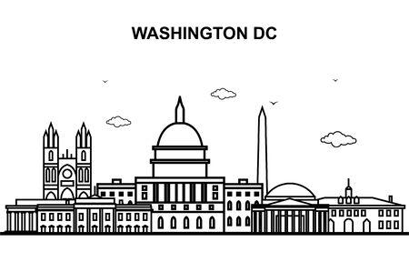 Washington DC City Tour Cityscape Skyline Line Outline Illustration