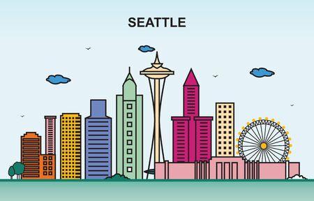 Seattle City Tour Cityscape Skyline Colorful Illustration Vector Illustration