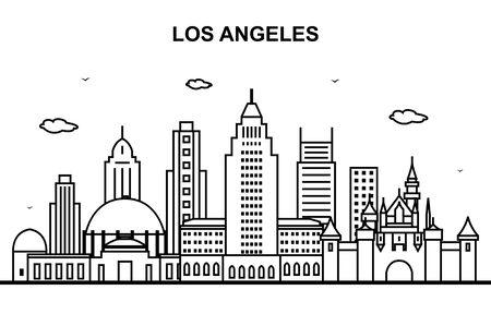 Los Angeles City Tour Cityscape Skyline Line Outline Illustration