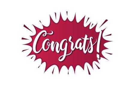 Congratulations Typography Handwritten Lettering Greeting Card Banner Ilustração