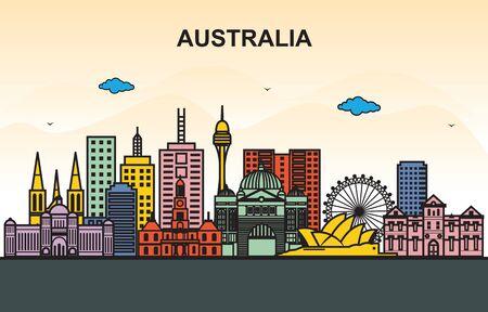 City in Australia Cityscape Skyline Tour Illustration Illustration