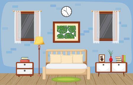 Schlafzimmer-Innenraum-Schlafzimmer-flaches Design-Illustration Vektorgrafik