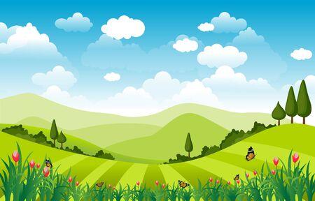 Mountains Hills Green Grass Nature Landscape Sky Ilustración de vector