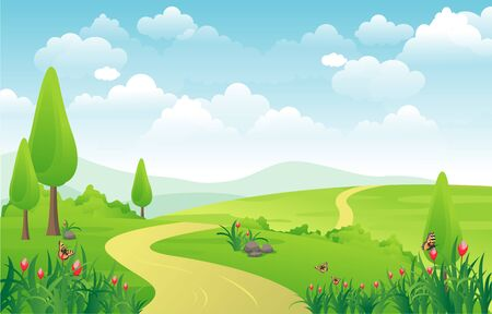 Berge Hügel Grünes Gras Natur Landschaft Himmel