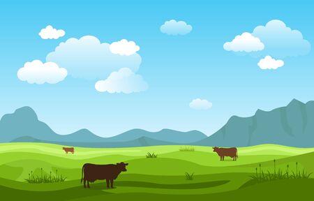 Mountains Hills Green Grass Nature Landscape Sky Vector Illustratie