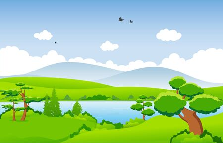 Mountains Hills Green Grass Tree Nature Landscape Sky Ilustracje wektorowe