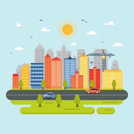 Ville Cityscape Skyline Landmark Bâtiment Trafic Rue Illustration Vecteurs