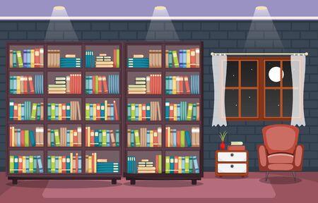 Library Room Interior Stack of Book on Bookshelf Flat Design Vector Illustratie