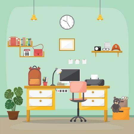 Student Children Study Desk Table Interior Room Furniture Flat Design Ilustração Vetorial