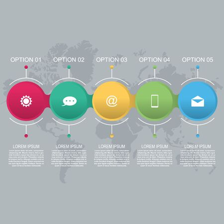 Chained Connected Circle Abstract Business Infographic Template