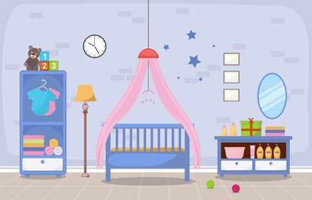 Baby Toddler Children Bedroom Interior Room Furniture Flat Design Ilustracja