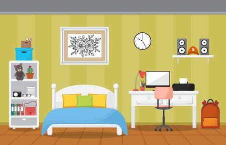 Student Study Desk Table Bedroom Interior Room Furniture Flat Design