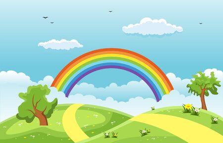 Summer Spring Green Valley Rainbow Outdoor Landscape Illustration