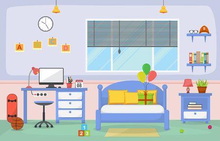 Student Study Desk Table Bedroom Interior Room Furniture Flat Design Vetores
