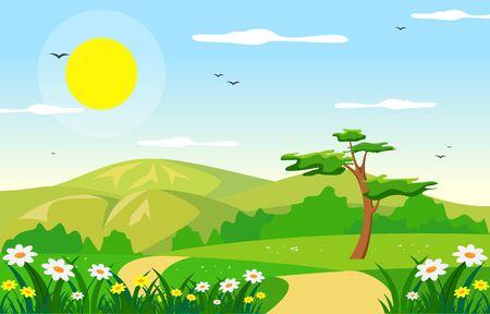 Summer Spring Green Valley Bright Sun Outdoor Landscape Illustration Vetores