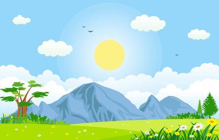 Ilustración de paisaje al aire libre de verano primavera verde valle sol brillante