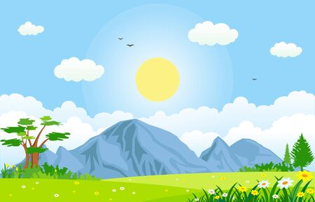 lato wiosna zielona dolina jasne słońce odkryty krajobraz ilustracja