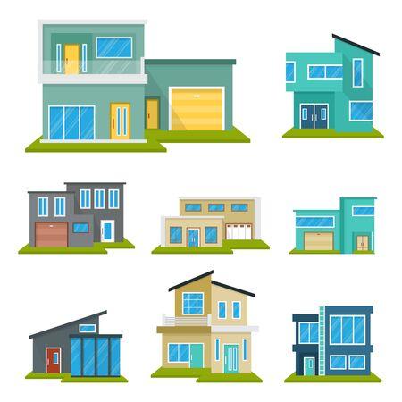 Maison Moderne Maison Immobilier Icône Symbole Plat Couleur Élément